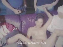 Slut housewife gets group sex in theater with many strange men