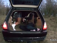 Outdoor Fuck in Car for German Teen at First Date