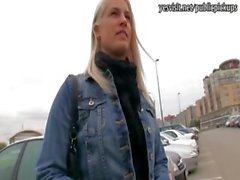 Czech girl stuffed in a public toilet