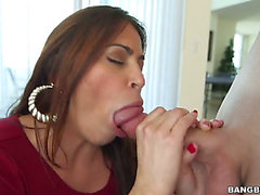 Dark Brown latin Julianna Vega with biggest bazookas makes men hard jock vanish in her face hole in raunchy ecstasy