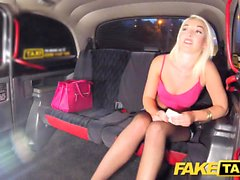Fake Taxi Sexy blonde in tight denim shorts with fishnets