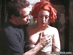 Weird redhead Jayne gets tied and ass part4