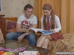 Tutor fucks schoolgirl ass