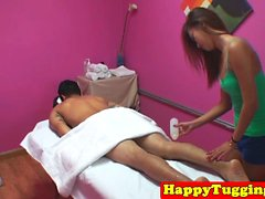 Perfect oriental masseuse riding clients cock
