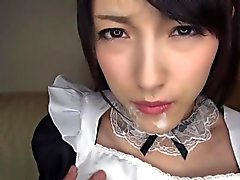 Asian Kanako in maid cosplay serivce
