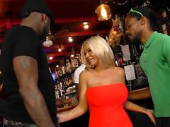 Slut blows bbc in bar