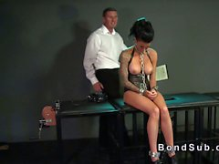 Chained busty slave fucked in dungeon