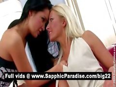 Stunning brunette and blonde lesbos kissing and licking nipples and having lesbo sex