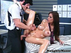 Busty massage babe Gia Dimarco pussyfucked