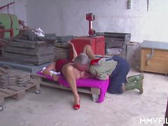 A granny is starving for a big cock to suck and ride and her husband is ready to give her