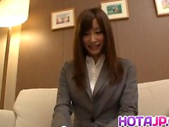 Chika Eiro in office suit uses vibrator on twat over