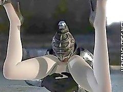 Рогатый 3D из аниме птенца получает выебанная