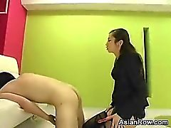 Crazy Japanese Chick With A Strap-On