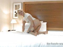 Sexy blonde masturbates to real orgasms