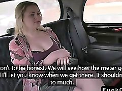 Chubby tattooed blonde fucked by huge dick in fake taxi