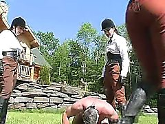 Extreme outdoor dominatrix babes bizarre balls busting fetish