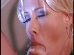 Busty blonde secretary in hot lingerie and banging her boss