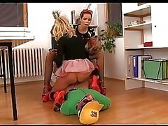 An unlucky pizza delivery guy makes a perfect slave for two young dominatrixes