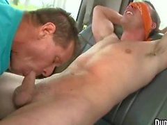 A straight stud who is blindfolded gets his cock sucked off
