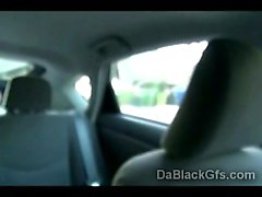 Amateur POV of gorgeous black babe goes horny while driving