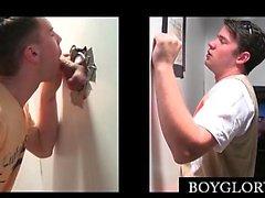 Gay on knees mouth fucking shaft on gloryhole