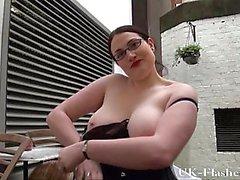 Bbw babe Alyss flashing pussy and masturbating in public