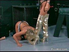 Sexy slut brings girlfriend on a leash