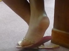 My Friend's Candid Beautiful Ebony Feet in Church 6