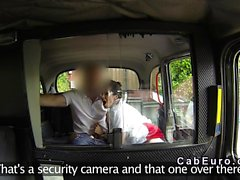 English beauty gags in fake taxi