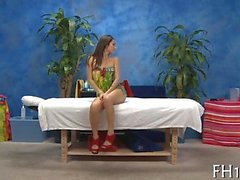 brunette teen with sexy red heels gets a steamy hot massage