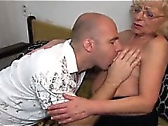 Young man licking and fucking old granny