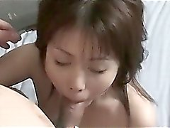 Japanese horny girl switching shaft from mouth to wet pussy