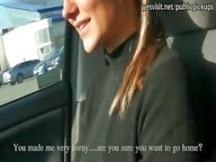 Real amateur eurobabe Holly flashes and banged in a car for cash
