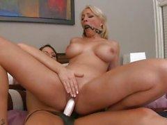 Horny Lexi Swallow rides Kortney Kane's strap on