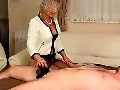 Nylon handjob from mistress
