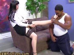 Lubed feet stroke cock