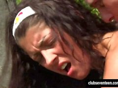 Brunette teen Vivien gets fucked in the garden