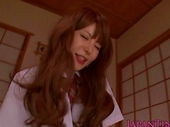 Petite asian schoolgirl rides dick
