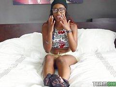 Ebony angel endures gratification from her stud