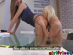 Girlfriends - have lunch then shaves pussy