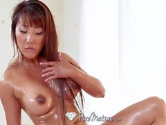 PUREMATURE Rub down MILF massage DRIPPING creampie with asian
