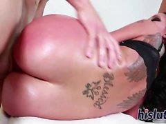 Hot brunette minx rides a big dick