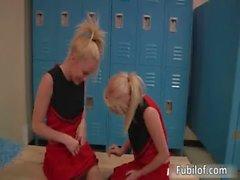 Two amateur cheerleaders having lesbian