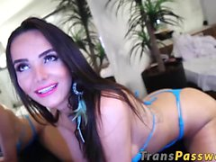 Adorable shemale Jennifer Satine loves to play with sex toy