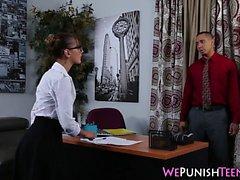 Kinky secretary gets cum