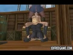 Old man pirate is face fucking his 3d deck hand sluts