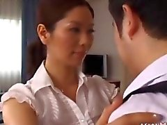 Asian Milf cleans the room and his cock too