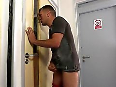 Cfnm babe jerks off cock
