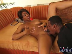 Ebony hottie has her orgasmic pussy plowed