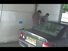 Teen sex threesome at a car wash